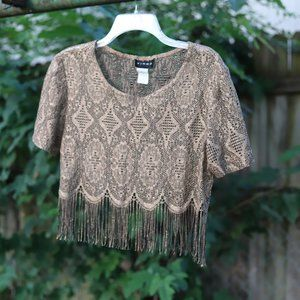 Vintage | Metallic Fringe Crop top